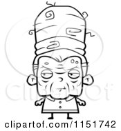 Cartoon Clipart Of A Black And White Old Lady With Tall Hair Vector Outlined Coloring Page by Cory Thoman