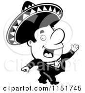 Cartoon Clipart Of A Black And White Mariachi Man Walking Vector Outlined Coloring Page