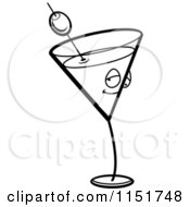 Cartoon Clipart Of A Black And White Martini Character Vector Outlined Coloring Page by Cory Thoman