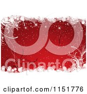 Clipart Of A Red Christmas Background With Foliage And Snowflake Grunge Royalty Free Vector Illustration by KJ Pargeter
