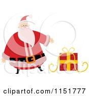 Cartoon Of Santa Presenting A Christmas Present Royalty Free Vector Illustration by lineartestpilot