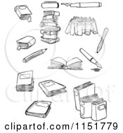 Cartoon Of Black And White Books And Pens Royalty Free Vector Illustration by lineartestpilot