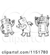 Cartoon Of Outlined Dancing Robots Royalty Free Vector Illustration