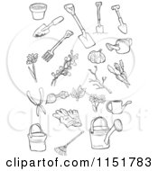 Clipart Of Outlined Garden Tools Royalty Free Vector Illustration by lineartestpilot