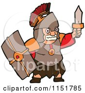 Cartoon Of A Roman Warrior Holding Up A Sword Royalty Free Vector Illustration by lineartestpilot