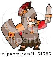 Roman Warrior Holding Up A Sword