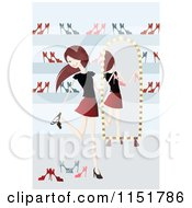 Clipart Of A Happy Young Woman Shoe Shopping Royalty Free Vector Illustration by lineartestpilot
