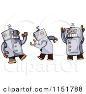 Cartoon Of Dancing Robots Royalty Free Vector Illustration