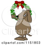Cartoon Of A Happy Dog Hanging A Christmas Bone Wreath Royalty Free Illustration