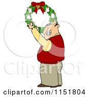 Cartoon Of A Happy Man Hanging A Christmas Angel Wreath Royalty Free Illustration