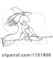 Outlined Witch Flying On A Broomstick