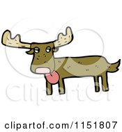 Cartoon Of A Goofy Moose Royalty Free Vector Illustration by lineartestpilot