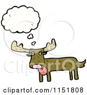 Cartoon Of A Thinking Moose Royalty Free Vector Illustration by lineartestpilot