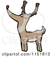 Cartoon Of A Red Nosed Reindeer Royalty Free Vector Illustration