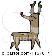 Cartoon Of A Red Nosed Reindeer Royalty Free Vector Illustration by lineartestpilot
