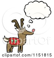 Cartoon Of A Thinking Christmas Reindeer Royalty Free Vector Illustration by lineartestpilot