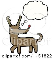 Cartoon Of A Thinking Christmas Reindeer Royalty Free Vector Illustration