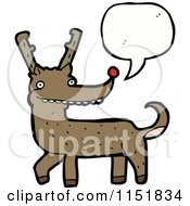 Cartoon Of A Talking Christmas Reindeer Royalty Free Vector Illustration by lineartestpilot