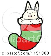 Cartoon Of A White Rabbit In A Christmas Stocking Royalty Free Vector Illustration