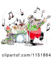 Cartoon Of Santa An Elf And Reindeer In A Rock And Roll Christmas Band Royalty Free Illustration