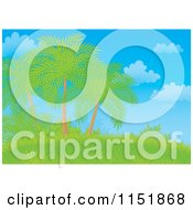 Cartoon Of A Landscape Of Palm Trees On A Hill Royalty Free Illustration