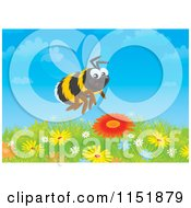 Cartoon Of A Happy Bumble Bee Over Flowers Royalty Free Illustration
