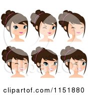 Clipart Of A Young Brunette Woman Winking And Smiling Royalty Free Vector Illustration