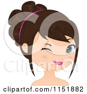 Clipart Of A Young Brunette Woman Winking Royalty Free Vector Illustration