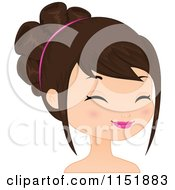 Clipart Of A Young Brunette Woman Smiling 2 Royalty Free Vector Illustration