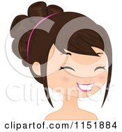 Clipart Of A Young Brunette Woman Smiling 3 Royalty Free Vector Illustration