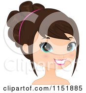 Clipart Of A Young Brunette Woman Smiling Royalty Free Vector Illustration