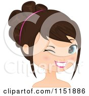 Clipart Of A Young Brunette Woman Winking 2 Royalty Free Vector Illustration