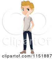 Clipart Of A Casual Blond Teenage Boy Royalty Free Vector Illustration