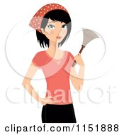 Clipart Of A Cleaning Woman Holding A Duster Royalty Free Vector Illustration by Melisende Vector