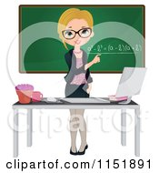 Clipart Of A Female Math Teacher At A Desk With A Computer By A Chalkboard Royalty Free Vector Illustration by Melisende Vector #COLLC1151891-0068