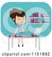 Clipart Of A Female Teacher At A Desk With A Computer By A Book Shelf Royalty Free Vector Illustration