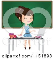 Clipart Of A Female Teacher At A Desk With A Computer By A Chalkboard Royalty Free Vector Illustration