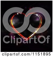 Clipart Of A Glowing Neon Heart Over Black With Flares Royalty Free Vector Illustration
