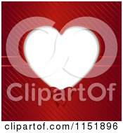Clipart Of A Heart Frame With A Ribbon Over Red Stripes Royalty Free Vector Illustration