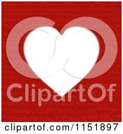 Clipart Of A Heart Frame Over A Red Pattern Royalty Free Vector Illustration