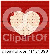 Clipart Of A Polka Dot Heart Frame With A Bow And Butterfly Over A Ribbon And Paper Royalty Free Vector Illustration