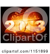 Clipart Of A 3d New Year 2013 Over Orange Bursts And Flares Royalty Free Vector Illustration by elaineitalia