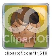 People Internet Messenger Avatar Of A Pretty African American Woman With Her Eyes Closed