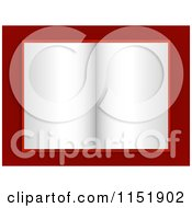 Clipart Of A Blank Paged Open Book On Red Royalty Free Vector Illustration