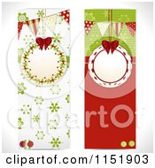 Clipart Of Vertical Christmas Banners With Ornament Frames Royalty Free Vector Illustration