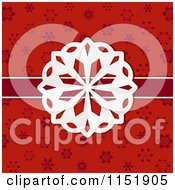 Clipart Of A Paper Snowflake And Ribbon Over Red Flakes Royalty Free Vector Illustration by elaineitalia