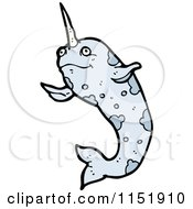 Cartoon Of A Narwhal Royalty Free Vector Illustration by lineartestpilot