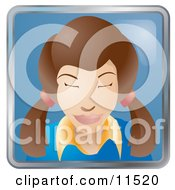 People Internet Messenger Avatar Of A Cute Brunette Woman With Her Hair In Pig Tails Clipart Illustration