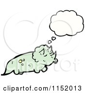 Cartoon Of A Thinking Triceratops Royalty Free Vector Illustration by lineartestpilot