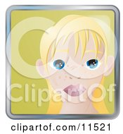 People Internet Messenger Avatar Of A Cute Blond Girl With Big Blue Eyes And Freckles Clipart Illustration by AtStockIllustration
